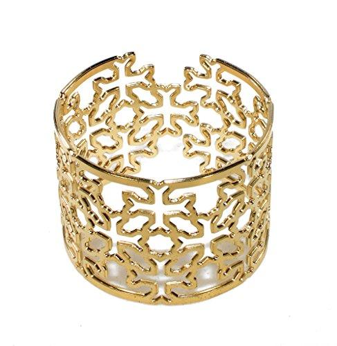 Unisex Gold Plated Adjustable Cuff Bracelet Celtic Cross Bangle Laser Cut Irish Geometric Cross Pattern by NanoStyle Jewelry