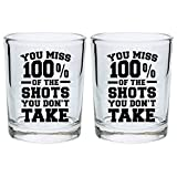 Funny Shot Glasses for College You Miss 100% of the Shots You Don't Take Drinking Games Shot Glass Gift Shot Glasses 2-Pack Round Shot Glass Set Black