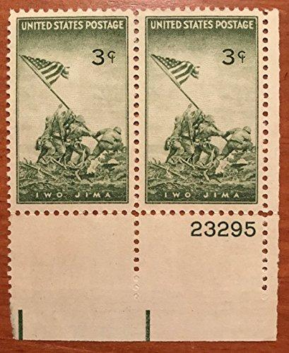 (Iwo Jima Strip of 2 x 3¢ US Postage Stamps Scott #929)