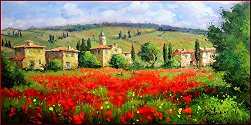 100% Hand Painted Canvas Oil Painting for Wall Art Decor, Very Beautiful Tuscany Landscape Oil Painting Reproduction/ Replica