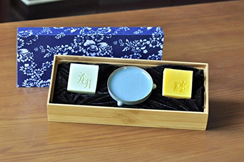Longjing Green Tea Handmade Soap and Osmanthus Honey Soap with Song Offiical Kiln Three Feet Dish Gift Box by d-savon