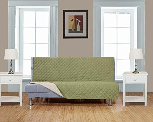 "Reversible Futon Cover 54"" X 75""-Furniture Protector for Pets, Kids, Dogs-Large Sofa, Standard Sofa, Loveseat, Futon Recliner and Arm Chair (FUTON-Sage Green/Beige)"