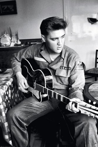 "Elvis Presley Guitar - Army Uniform 24""x36"" Art Print Poster"