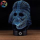 LE3D 3D Optical Illusion Desk Lamp/3D Optical Illusion Night Light, 7 Color LED 3D Lamp, Star Wars 3D LED For Kids and Adults, Darth Vader Light Up