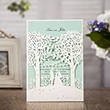 Wishmade Laser Cut Invitation Card Kits for Wedding Invitation with Envelope Provide Personalized Printing 100PCS