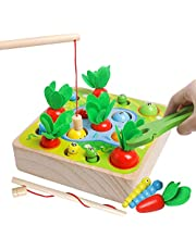 Montessori Educational Toys for Toddler - Carrot Harvest Game Shape Size Sorting Games for Developing Fine Motor Skill, Developmental Wooden Matching Puzzle STEM Gift for Boys Girls Kids Toddlers