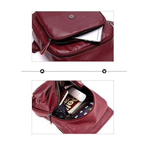 (JVP1069-C) Top Layer cowhide mochila impermeable niñas linda cuero natural de gran capacidad bolsos de moda mochila de moda ligero escuela suburbana Azul Marino