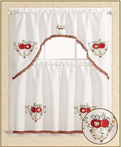 All American Collection 3pc Apples Kitchen Curtain Set