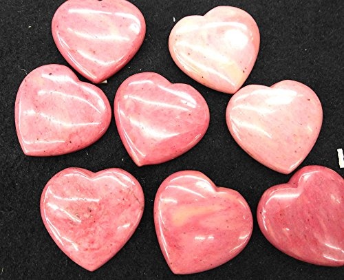 2pcs 45mm Nutural Rhodochrosite beadsOpalite Heart, Mookaite Jasper Polished Stone Heart,pink Quartz,Turquoise,Jade ,lapis lazulie Pendant (Pink Jade Heart Beads)