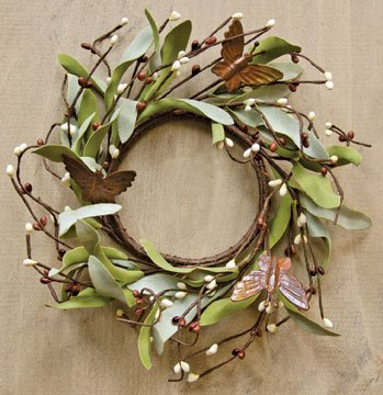 Wreath Candle Ring (Rusty Butterfly & Herb Ring Mini Wreath Chocolate Brown Pips Greenery Country Primitive Floral Décor)