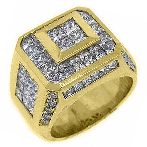 18k Yellow Gold Mens Invisible Princess Cut Diamond Ring 5.62 Carats
