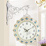 MCC Double Sided Wall Clock Bling Bling Diamond Studded Accessories Arabian And Roman Numerals Decorated With Silence Quartz Clock , silver white
