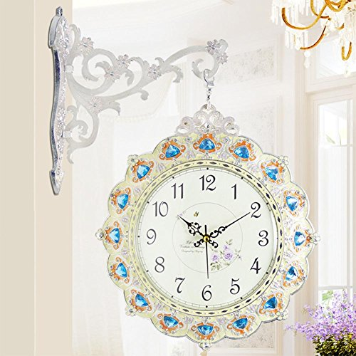 MCC Double Sided Wall Clock Bling Bling Diamond Studded Accessories Arabian And Roman Numerals Decorated With Silence Quartz Clock , silver white by guazhong