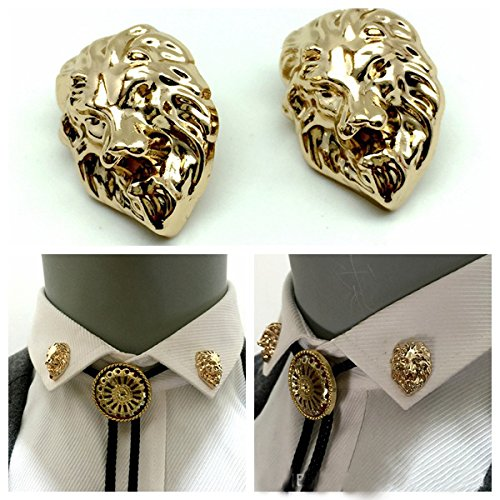 Lion Pin Head (Europe domineering retro three-dimensional metal lion head Men Women suit and shirt collar brooch pin collar)