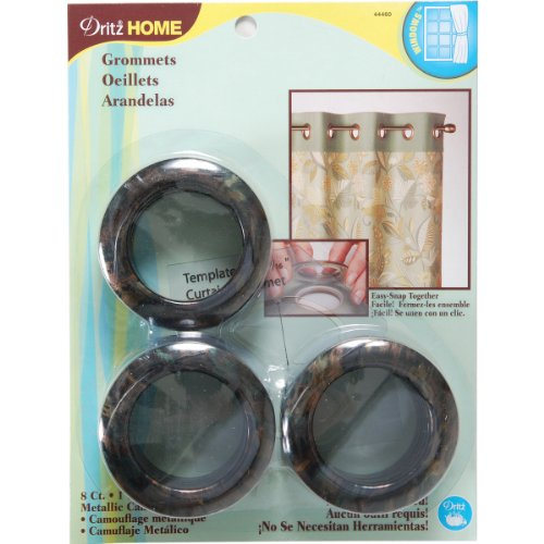 Dritz 44460 Printed Curtain Grommets, Metallic Camo, 1-9/16-Inch, 8-Pack