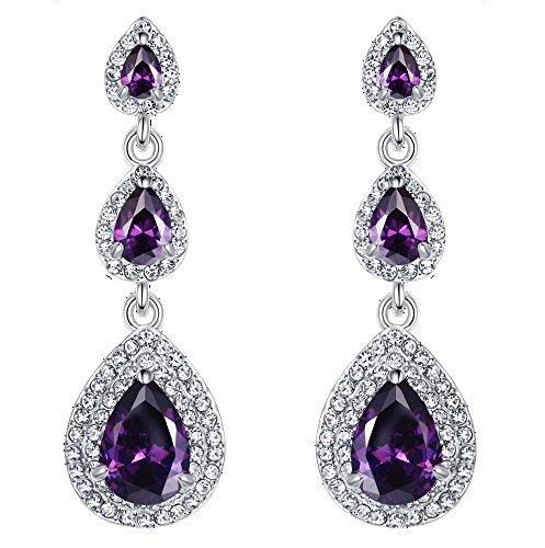 EVER FAITH Silver-Tone 3 Teardrop Pierced Austrian Crystal Zircon Earrings Birthstone - Tanzanite Color