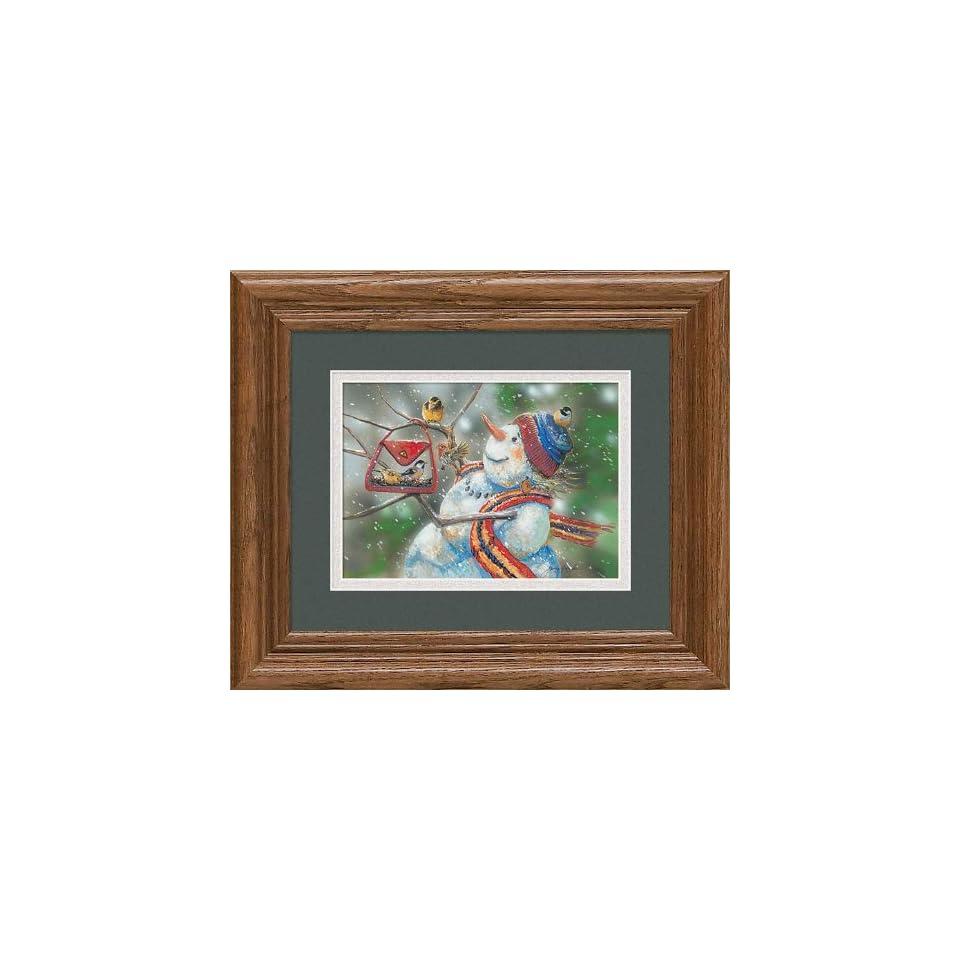 Snow Lady Snowman Bird Feeder by Janene Grende Great Northern Art Mini Framed Print Open Edition
