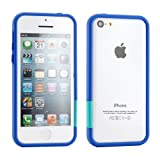 GEARONIC TM New 2016 Blue Hard PC Frame Bumper Case Cover with Rubberized Coating For iPhone SE 5 5C 5S