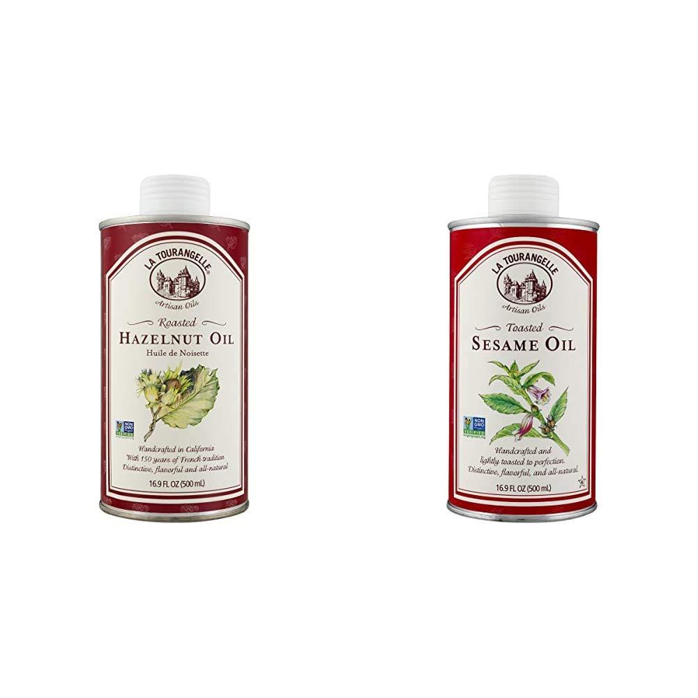 La Tourangelle Roasted Hazelnut Oil 16.9 Fl. Oz. & Toasted Sesame Oil – Rich, Deep, Delicious Flavor – All-natural, Expeller-pressed, Non-GMO, Kosher – 16.9 Fl. Oz.