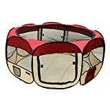 ALEKO DK-61-BG Octagon Pet Playpen Puppy Dog Cat Rabbit Exercise Kennel 57 x 24 Inches Burgundy
