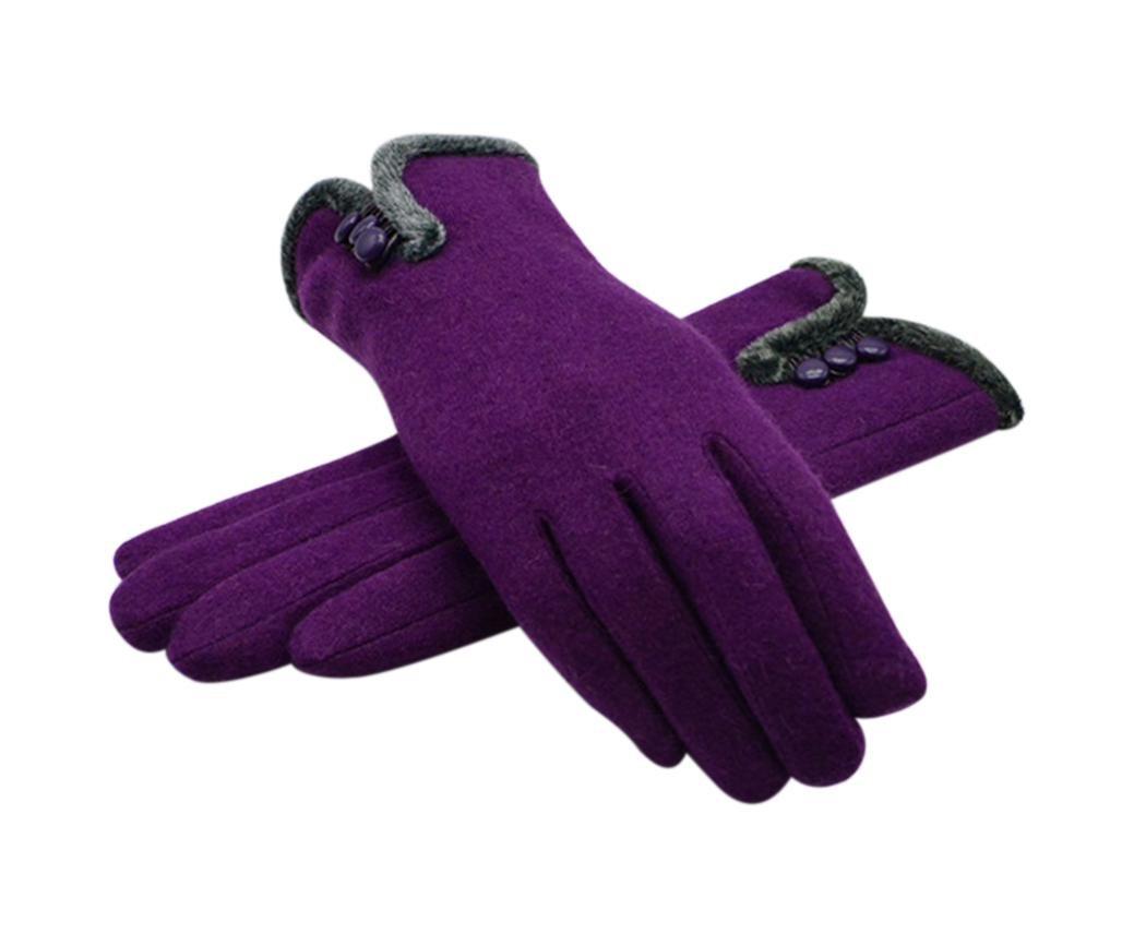 Veenajo Women's Thick Winter Warm Cashmere Woolen Gloves Mittens Fleece Lining (Purple)