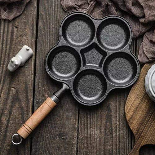 5 Gaten Draagbaar Makkelijk Schoon Anti-aanbak Kookgerei Omelet Pan Houten Handvat Anti Brandwonden Keuken Huishouden Dik Multifunctioneel