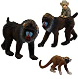 Migration, Set of Mandrill Baboon Family, 2 Adult & Baby Animal Figures