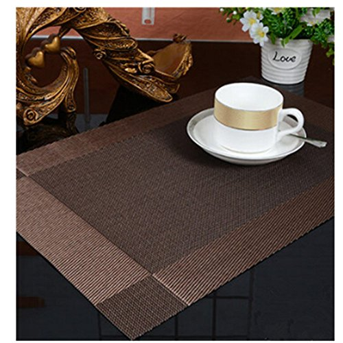 KAKA(TM Deluxe Rectangle PVC Insulation Anti-skidding Dining Room Placemat - Dining Room Placemats for Table Heat Insulation Anti-skid Stain-resistant Simple Style Placemat
