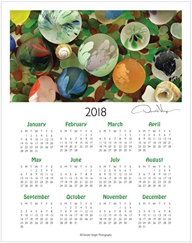 2018 Sea Glass One Page Fine Art Wall Calendar. Globes. 11x14. Great For Framing. Best Quality Birthday, Christmas, Mother's Day & Valentines Gifts for Women, Men & Kids. Unique Idea - Glasses Popular