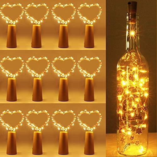 LOBKIN 12 Stück Led Flaschenlicht, 2M 20Leds Lichterkette mit Batteriebetriebene, IP67 Wasserdicht, Flaschen-Licht Warmweiß für Flasche DIY, Party, Hochzeit, Weihnachten
