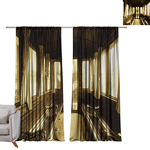 berrly Tie Up Shades Rod Blackout Curtains Antique,Old Vintage Train Salon Inside Historical Transport Windows with Curtains Arch Shape,Sepia W72 x L96 Adjustable Tie Up Shade Rod Pocket Curtain