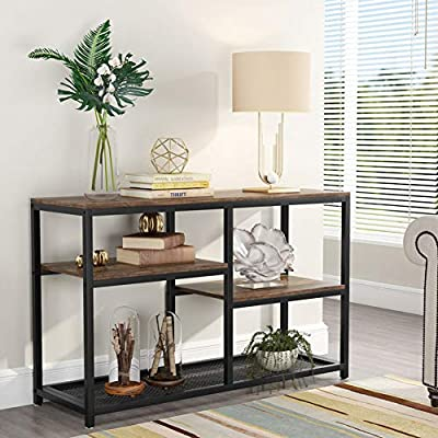 Tribesigns 47 Inch Rustic Console Table, 4-Tier Vintage Sofa Entryway Table TV Stand with Net Storage Shelves for Living Room (Rustic Brown) - ✔ 【VINTAGE INDUSTRIAL CHARM】: It pairs black steel frame with 3 rustic brown manufactured wood shelves and one metal net storage shelf. This industrial-inspired console table, for an eye-catching display vignette. ✔ 【MULTI-SCENE USAGE】: Not just a sofa console table, it can be also used as a entryway table, tv stand and display rack. and you can use it for actual storage and real function into any place in your room. ✔ 【4 SHELVES STORAGE】: 4 shelves offer a generous amount of space for storage and display options. Four shelves in different size add essential storage to your books and other decorative items without taking up too much square footage. - living-room-furniture, living-room, console-tables - 511EGm7EgsL. SS400  -