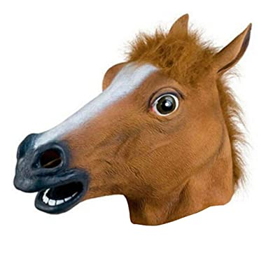 Novelty Halloween Costume Party Animal Head Mask Brown Horse Creepy Horse Head Mask,Horseman Mask,Brown Horse Mask, Rubber Latex Animal Mask Prop Style Toys Party Halloween (AS Show): Toys & Games [5Bkhe0502507]