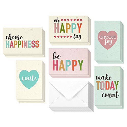 36 Pack Encouragement Greeting Cards - All Occasion Bulk Box Set Assorted Blank Note Cards - 6 Pastel Colored Happy Heart Designs - Blank on the Inside Notecards with Envelopes Included - 4 x 6 Inches