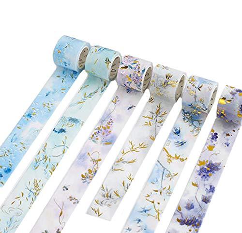 Gold Foil Flower Floral Blue Leaf Washi Tape Set- 3 Rolls Randomly - Decorative DIY Japanese Masking Scrapbook Notebook Sticky Planner Washi Tape -