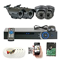 GW Security VD4CH4C892CVB1815 4-Channel 2MP HD 1080P 2.8-12mm Varifocal Zoom Bullet & Dome Security Camera
