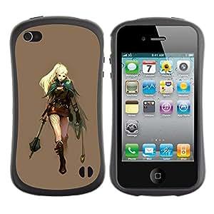 LASTONE PHONE CASE / Suave Silicona Caso Carcasa de Caucho Funda para Apple Iphone 4 / 4S / Warrior Princess Attire Blonde Sexy Art