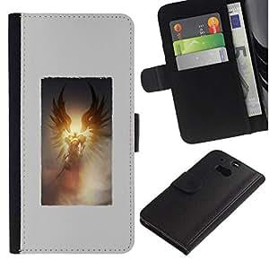All Phone Most Case / Oferta Especial Cáscara Funda de cuero Monedero Cubierta de proteccion Caso / Wallet Case for HTC One M8 // Death Sun Wings Poster Grey God