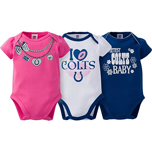 NFL Indianapolis Colts Girls Short Sleeve Bodysuit (3 Pack), 3-6 Months, Pink