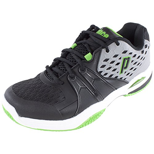 Prince Court Shoes (Prince Warrior Clay Court Men's Tennis Shoes Grey/Black/Green Size 8)