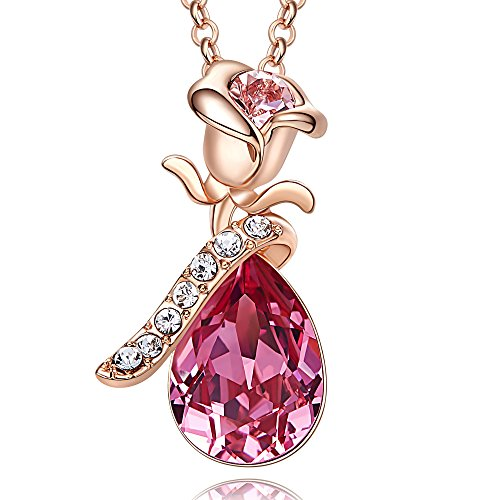 Cde Rose Teardrop Necklace For Women Swarovski Crystal Pendant Necklaces Fashion Jewelry  18K Rose Gold Plated  Rose
