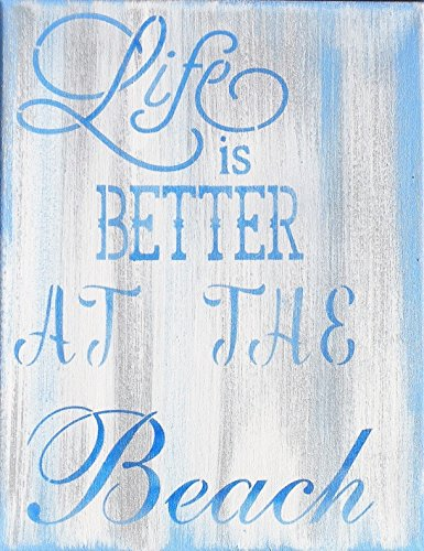 Life is Better at the Beach Handmade Rustic Powder Blue White Washed Canvas Painting,
