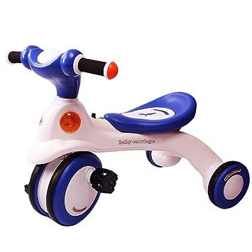 Bicicletas De Triciclo para Niños Ciclismo para Niños Carrito De Niños Elegante Tres Ruedas para Exteriores Niños Y Niñas De 1-6 Años (Color : Blue) : ...