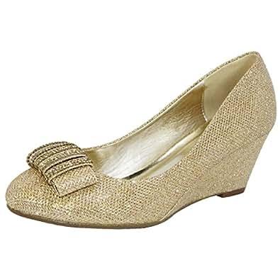Amazon.com | Lasonia Glitter Wedge Heels Dress Formal