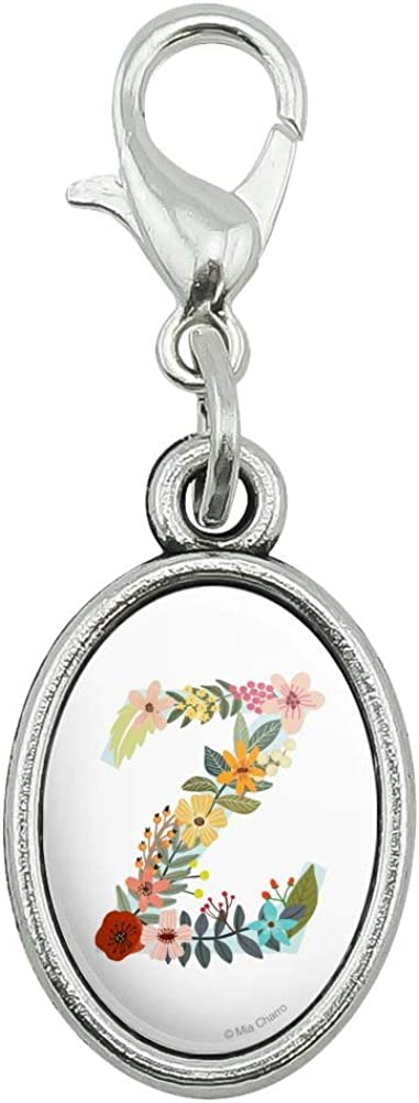 GRAPHICS /& MORE Letter Z Floral Monogram Initial Antiqued Bracelet Pendant Zipper Pull Oval Charm with Lobster Clasp