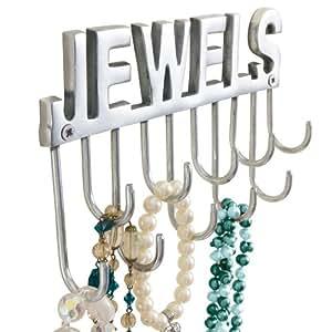 """Joyero con ganchos de pared y letras """"Jewels"""" para collares y joyas, metal aprox. ancho 20 x fondo 4 x altura 12 cm"""