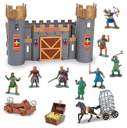 Liberty Imports Medieval Castle Knights Action Figure Toy Army Playset with Assemble Castle, Catapult and Horse-Drawn Carriage (Bucket of 8 Soldier Figurines) -