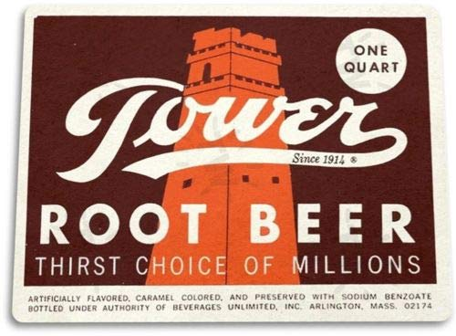 (TIN Sign Tower Root Beer Soda Cola Kitchen Cottage Bar Retro Metal)