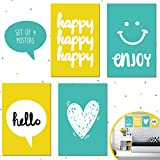ideas for decorating a bedroom Set of Four 11X17 Motivational Posters, Perfect for Bedroom Decorating Ideas for Kids, Girls, and Teens Wall Art. Each Poster Printing Brings Aqua and Yellow Decor to Any Ambiance!