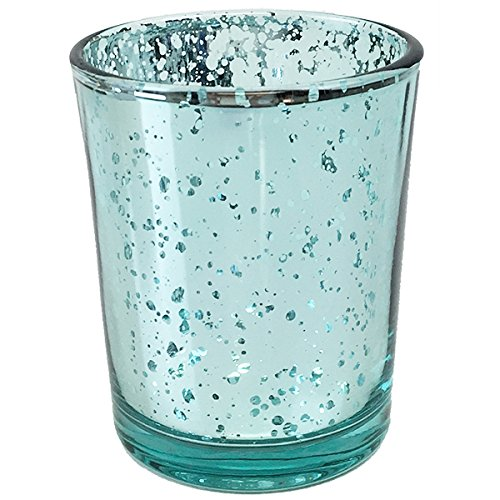 Just Artifacts (Bulk) Mercury Glass Votive Candle Holder 2.75''H (100pcs, Speckled Aqua) - Mercury Glass Votive Tealight Candle Holders for Weddings, Parties and Home Décor by Just Artifacts